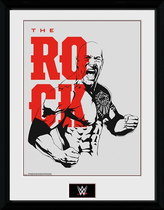 The Rock Outline Logo Framed Photo WWE Collector Print