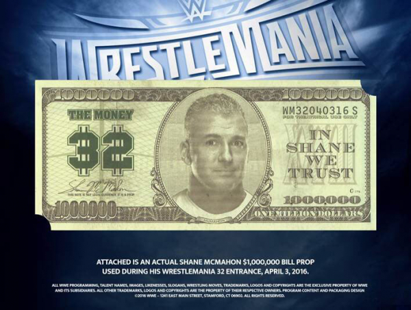 Shane McMahon WrestleMania 32 Mounted Dollar Bill (Limited Edition)