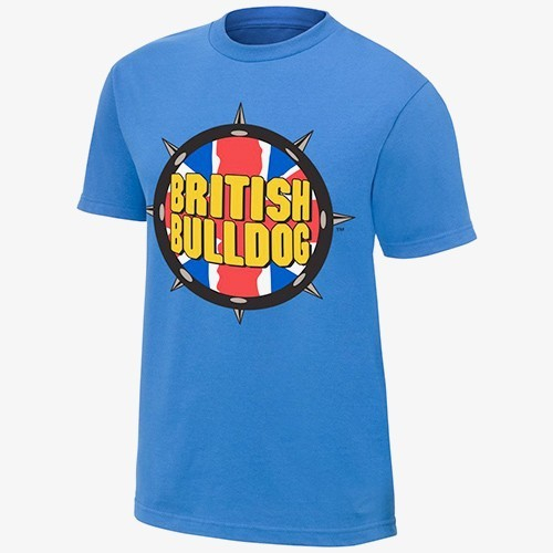 British Bulldog - Spiked Collar -  Mens WWE Authentic T-Shirt